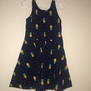 🍍 Navy Blue with Pineapples Sleeveless Dress